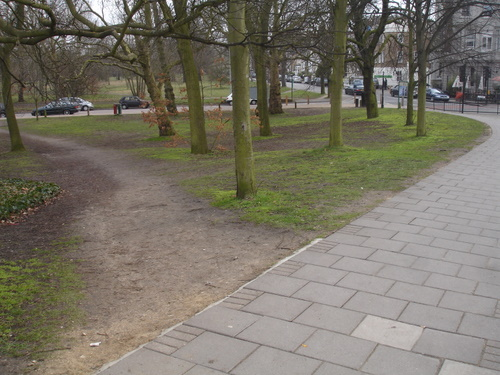 Desire path cutting off corner