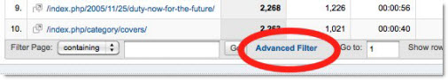 Where to find advanced inline filter in Google Analytics
