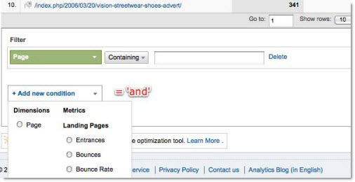 How to add an extra inline filter metric in Google Analytics