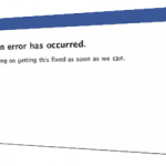 Screen shot of Classic Facebook error message