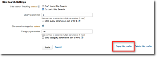 Screenshot showing the copy profile interface in Google Analytics