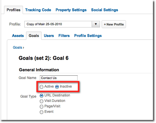 Screenshot showing how to stop a goal collecting data in Google Analytics