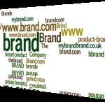 Wordcloud showing brand keywords