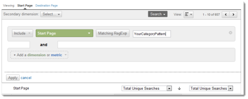 Screen Grab showing how to use GA In Line search to filter results