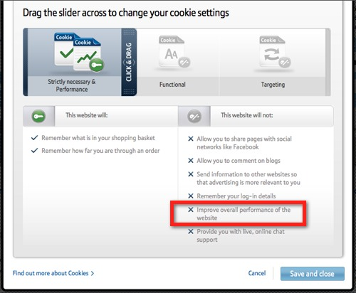 Screenshot showing BT cookie and tracking settings with only necessary tracking enabled