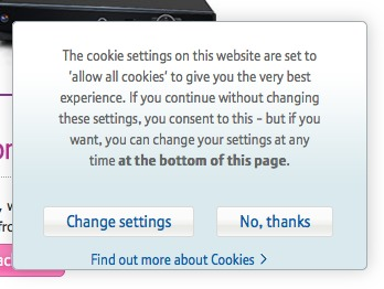 Screenshot showing BT EU Cookie Law Opt-in Overlay