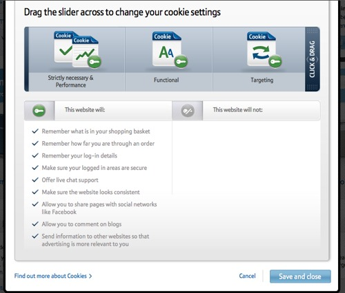 Screenshot of BT Cookie Settings Option with default options (all tracking on)