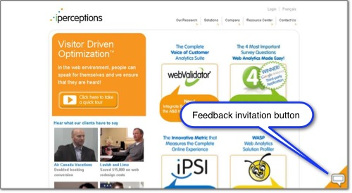 Screenshot of iPerceptions feedback invitation